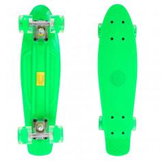 Penny Board Roti Silicon Lumini 56cm Verde - Skateboard, Marime: 22