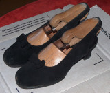 Pantofi antilopă, 37-38, 37.5, Negru, Cu toc