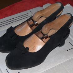 Pantofi antilopă, 37-38 - Pantof dama, Culoare: Negru, Marime: 37.5, Cu toc