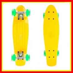 Penny Board Roti Silicon Lumini 56cm Galben - Skateboard, Marime: 22
