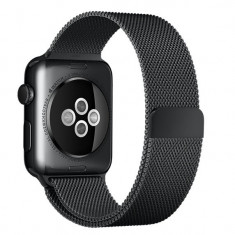Curea pentru Apple Watch Black Milanese Loop iUni 42mm Otel Inoxidabil