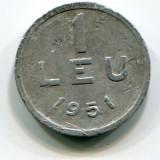 Moneda 1 leu 1951, RPR,  aluminiu