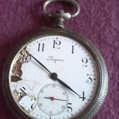 "Ceas vechi de buzunar Elvetian din argint marca ""LONGINES"" - Ceas de buzunar vechi"