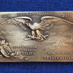 Placheta Aparatorilor Orasului Galati - Din partea cetatenilor 2018 - medalie - Medalii Romania