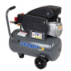 Compresor aer Stager, 24L, 2HP, 8Bar, 200 L/min, motor cupru, Compresoare cu piston
