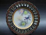 TABLOU / FARFURIE DECORATIVA CU MARGINE PERFORATA DIN PORTELAN SATSUMA