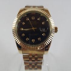 Ceas Rolex Oyster auriu-negru barbatesc NOU elegant metalic - Ceas barbatesc, Casual, Quartz, Otel, Data, Analog