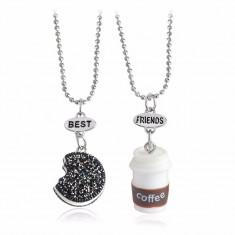 Lant Lantisor Pandantiv BFF Colier BEST FRIENDS forever OREO & COFFEE - 2Buc/set - Pandantiv fashion