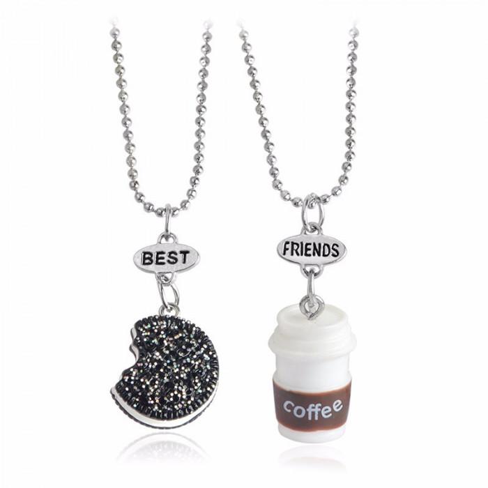 Lant Lantisor Pandantiv BFF Colier BEST FRIENDS forever OREO & COFFEE - 2Buc/set