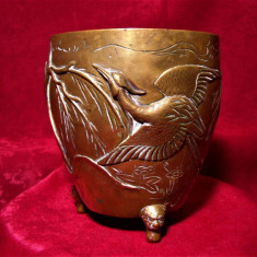 Vas bronz frapiera vaza Feng Shui bronz autentica orientala colectie