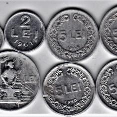 LOT RPR 5 LEI 1948 1949 1950 1951+1+ 2 +20 lei 1951 (5) - Moneda Romania, Aluminiu