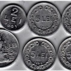 LOT RPR 5 LEI 1948 1949 1950 1951+1+ 2 +20 lei 1951 (6) - Moneda Romania, Aluminiu