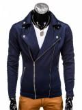 Jacheta pentru barbati, slim fit, inchidere laterala, bleumarin - B699, L, M, S