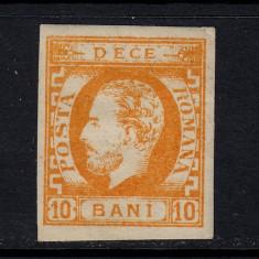 CAROL I CU BARBA 1871 - 1872 - 10 BANI PORTOCALIU INCHIS NECIRCULAT - Timbre Romania, Nestampilat