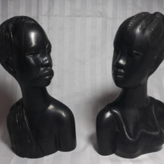 ARTA AFRICANA - SCULPTURA - LEMN DE ABANOS - FEMEIE SI BARBAT - BASTINASI