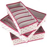 3 cutii roz textile si accesorii in sertar-Holly