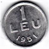 1 leu 1951 RPR  aluminiu UNC (10)