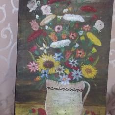 Tablou pictat pe panza,VAZA CU FLORI,Pictura vintage semnata si datata,T.GRATUIT, Ulei, Realism
