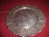 Tava argintata rotunda  pentru servit  35 cm