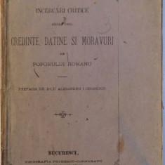 INCERCARI CRITICE ASUPRA UNORU CREDINTE, DATINE SI MORAVURI ALE POPORULUI ROMANU de G. DEM. TEODORESCU, BUC. 1874 - Carte Fabule