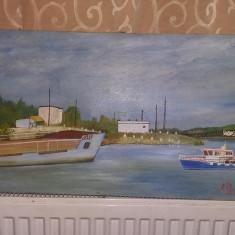 Tablou pictat vintage NAVE IN PORT LA DUNARE,Semnat si datat,Transport GRATUIT, Marine, Ulei, Realism