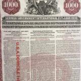 $1000 Aur Titlu de Stat Germania 1930 obligatiune la purtator