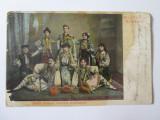 Carte postala circulata1908 Salutari din Romania-Trupa Steaua Carpati Dumitrescu, Circulata, Printata