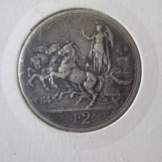 Italia 2 Lire 1914 Argint cu patina deosebita in stare foarte buna, Europa