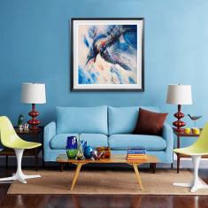 Zborul. Pictura pe panza in culori acrilice.