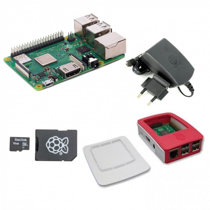Pachet Raspberry Pi 3 Model B + cu Alimentator de 2.5 A, 5.1 V, Carcasă Alb cu Roșu și Card MicroSD de 16 GB cu NOOBs Original foto mare