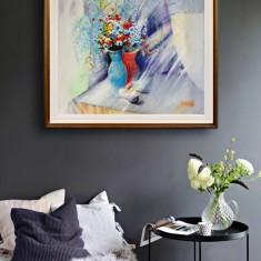 Flori. Pictura pe panza in culori acrilice, Acrilic, Altul