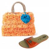 Set slapi (39) cu cos de plaja LALU Dixie orange - Geanta Dama