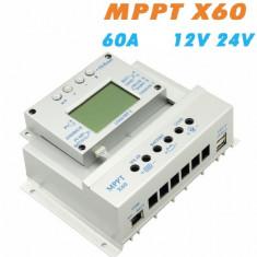 Controller/Regulator solar MPPT X - 60A LCD USB Panouri fotovoltaice cabane