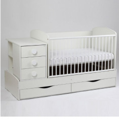 Patut lemn 3in1 cu sistem de leganare - Patut lemn pentru bebelusi Baby Design, 180X80cm, Alb