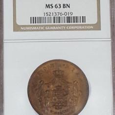 NGC 10 bani 1867 Watt MS 63 BN - Moneda Romania, Cupru (arama)