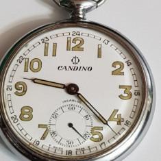 CEAS DE BUZUNAR MECANIC MARCA CANDINO SWISS MADE -15-RUBINE.-INCABLOC - Ceas de buzunar vechi
