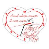 Ceas de perete din PVC inimioara cu mesaj cadou special