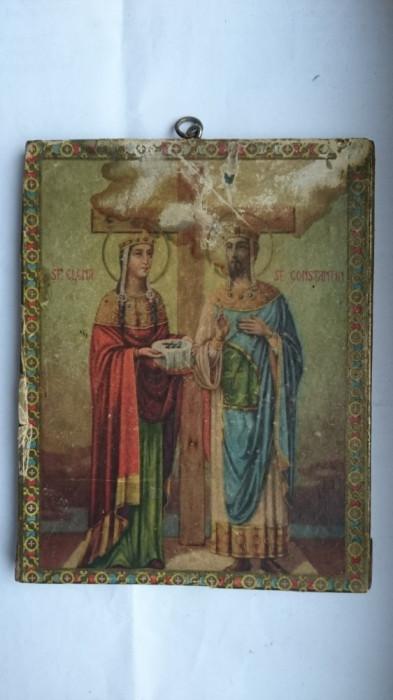 Icoana veche litografie lemn Sf. Constantin si Sf. Elena - restaurare, colectie