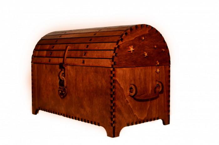 Cufar din lemn pentru trusou botez lucrat manual