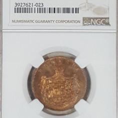 NGC 5 bani 1867 Heaton PF 64 RB proof - Moneda Romania, Cupru (arama)