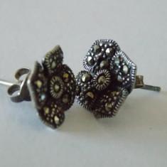 """Cercei argint cu marcasite """"Sparkly flowers"""" -2463"""