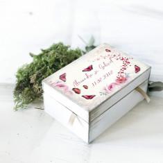 Cutiuta verighete nunta personalizata – Red Butterflies - Bijuterie veche