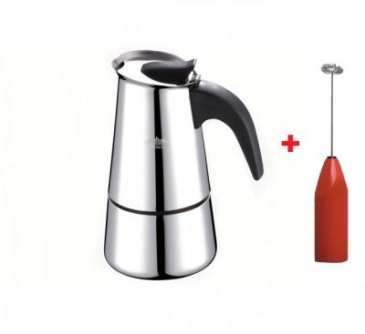 Espressor pentru aragaz, inox, 4 cesti, 160 ml, peterhof + Mixer electric, spuma lapte, Cadou foto