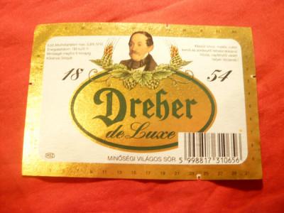 Eticheta veche de Bere Dreher de Lux - Ungaria foto