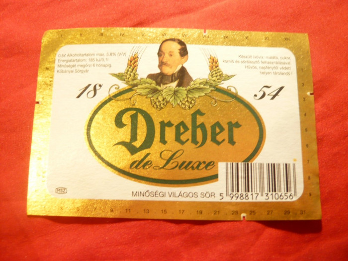 Eticheta veche de Bere Dreher de Lux - Ungaria