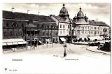 Cluj  Kolozsvar palatul Banfy,pravalii,turnurile gemene,ilustrata  aprox 1900, Necirculata, Printata, Cluj Napoca