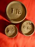 3 Greutati pt. cantar englezesti , f.vechi : 4oz , 8 oz si 1 livra