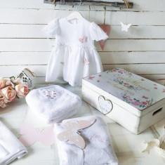 Rochita Botez Personalizata Pink Butterflies Baby Girl Dress - Trusou botez