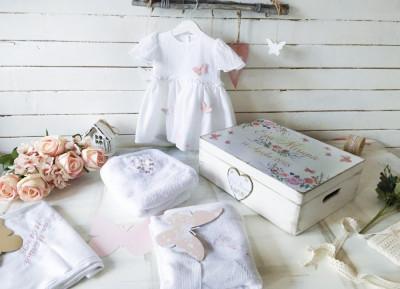 Rochita Botez Personalizata Pink Butterflies Baby Girl Dress