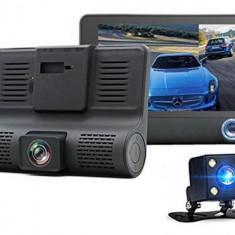 Camera Auto Full HD cu 3 Camere,DVR,ecran 4 inch,fata,spate si interior